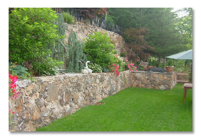 Mowed Lawn and Stone Retaining Wall